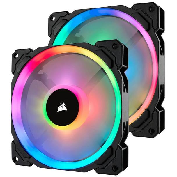 Product image for Corsair LL140 RGB 140mm Fans 2 Pack with Lighting Node Pro | AusPCMarket Australia