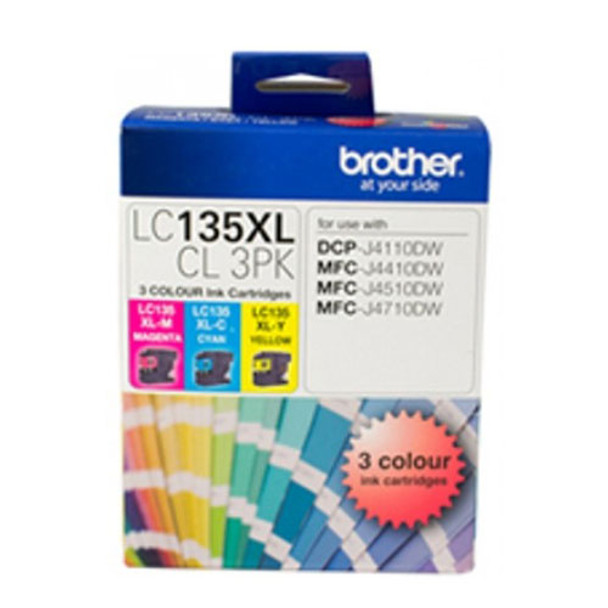 Image for Brother LC135XL CMY Colour Pk up to 1200 pages per colour Misc Consumables AusPCMarket
