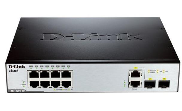 Image for D-Link 8-Port 10/100Mbps + 2x 1000BaseT & 1x 1000BaseT / SFP L2 Managed Switch AusPCMarket