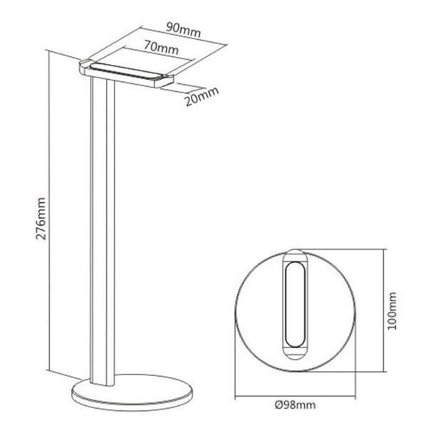 Brateck HPS01-1 Aluminium Desktop Headphone Stand - Silver Product Image 2