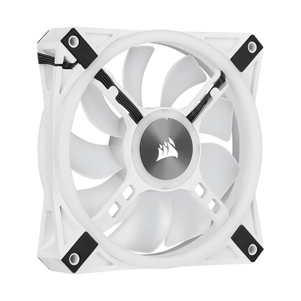 Corsair iCUE QL120 RGB White 120mm PWM Fan - Three Pack with Lighting Node CORE Product Image 9
