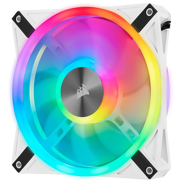 Corsair iCUE QL140 RGB White 140mm PWM Fan - Dual Pack with Lighting Node CORE Product Image 6