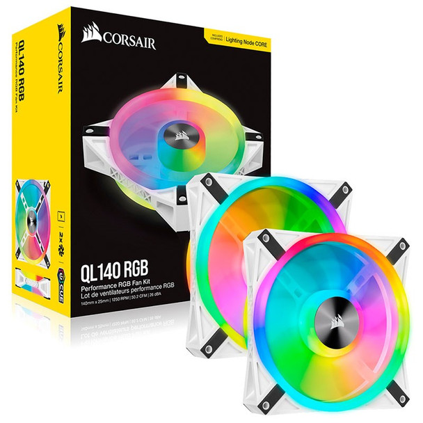 Corsair iCUE QL140 RGB White 140mm PWM Fan - Dual Pack with Lighting Node CORE Product Image 10