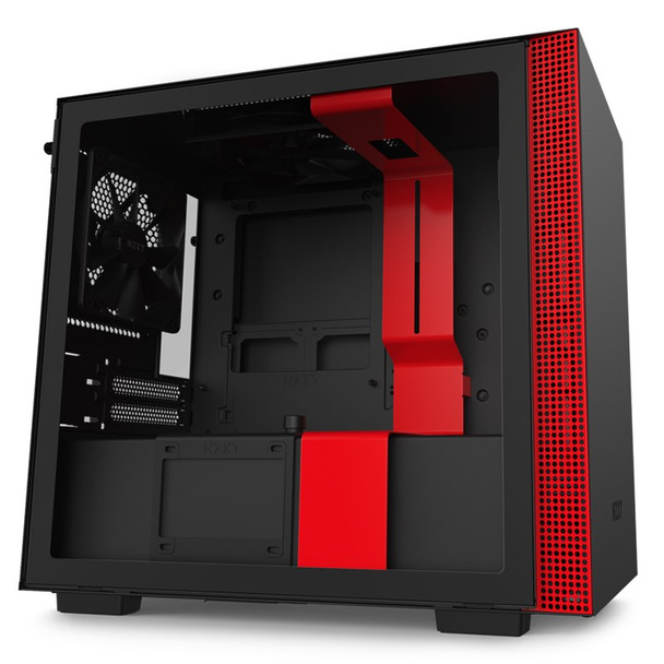 Image for NZXT H210 Tempered Glass Mini-ITX Case - Matte Black/Red AusPCMarket