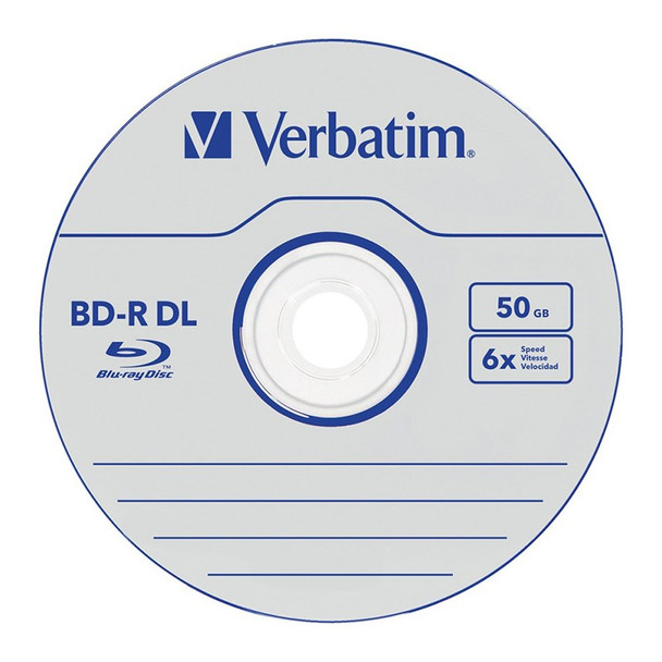 Verbatim 43748 50GB Silver BD-R Dual Layer Recordable Disc - 5-Pack Case Product Image 2