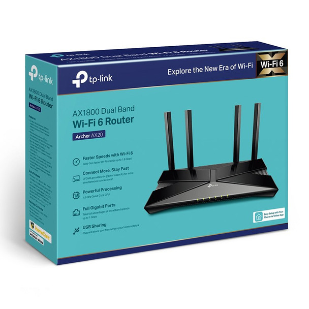 TP-Link Archer AX20 AX1800 Dual-Band Wi-Fi 6 Router Product Image 4
