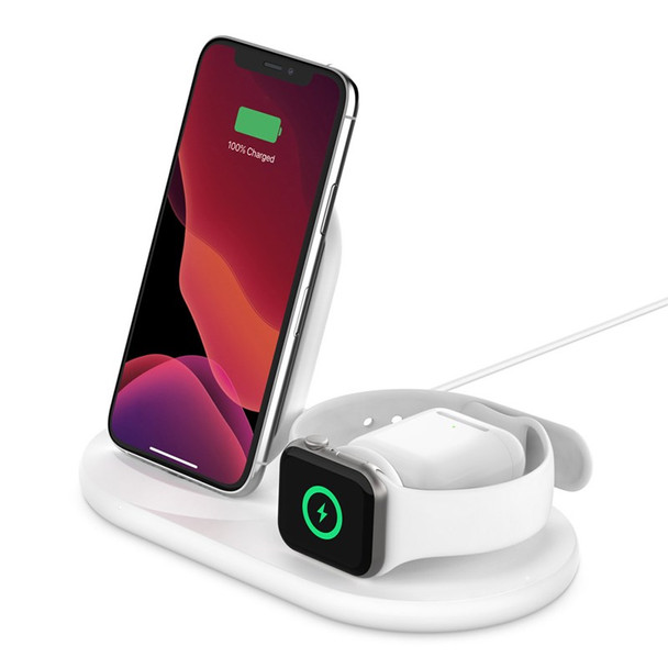Belkin Boost Charge 3-in-1 Wireless Charging Dock for Apple Devices - White Product Image 4