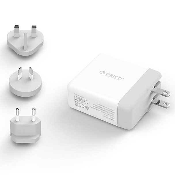 Orico DSP-4U-US-WH-PRO Quad Port USB International Travel Wall Charger - White Product Image 2