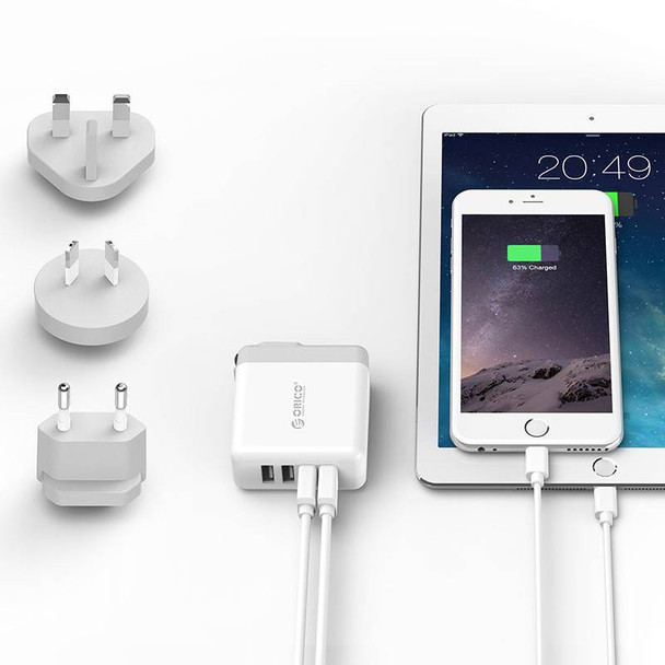 Orico DSP-4U-US-WH-PRO Quad Port USB International Travel Wall Charger - White Product Image 4