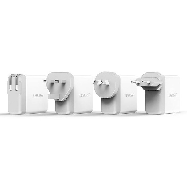 Orico DSP-4U-US-WH-PRO Quad Port USB International Travel Wall Charger - White Product Image 5