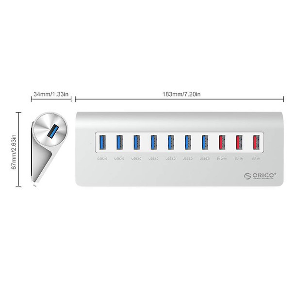 Orico M3H73P-V1-AU-SV Aluminum 7-Port USB 3.0 Hub with 3 Charging Ports - Silver Product Image 2