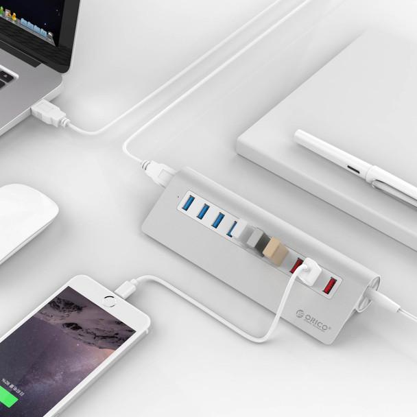 Orico M3H73P-V1-AU-SV Aluminum 7-Port USB 3.0 Hub with 3 Charging Ports - Silver Product Image 4
