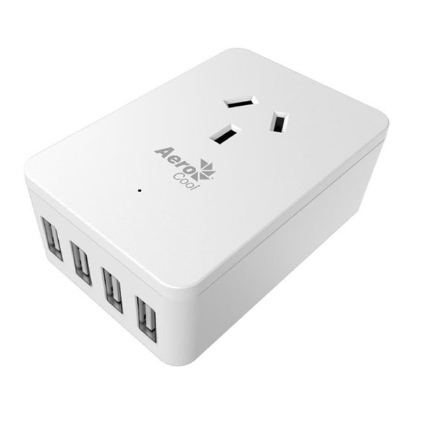 Image for Aerocool ASA-ST1A4U2 WH Smart Charge 1 AC and 4 Port USB Fast Charge AusPCMarket