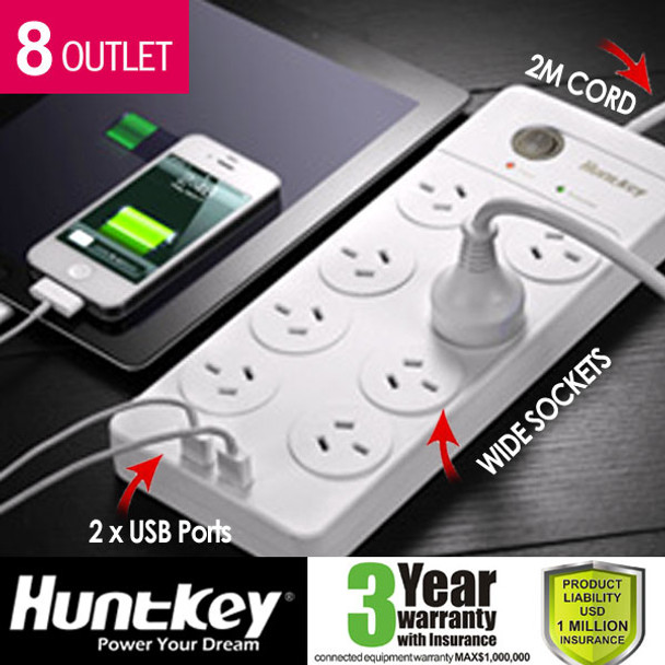 Huntkey 8 Outlet Surge Protected PowerBoard with Dual 5V 2.1A USB Ports Product Image 6
