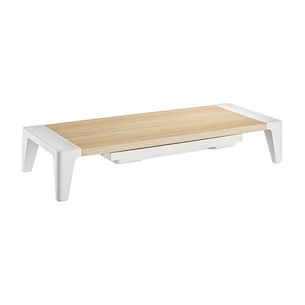 Image for Brateck Ergonomic Monitor Stand with Drawer - White Birch AusPCMarket