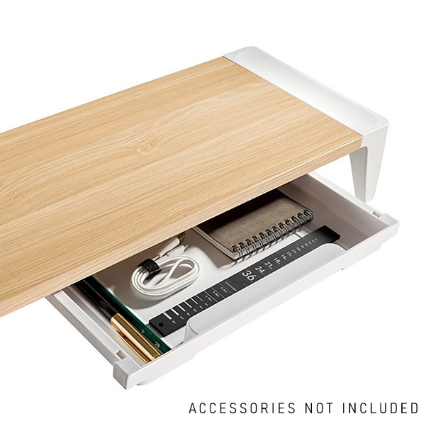 Brateck Ergonomic Monitor Stand with Drawer - White Birch Product Image 2