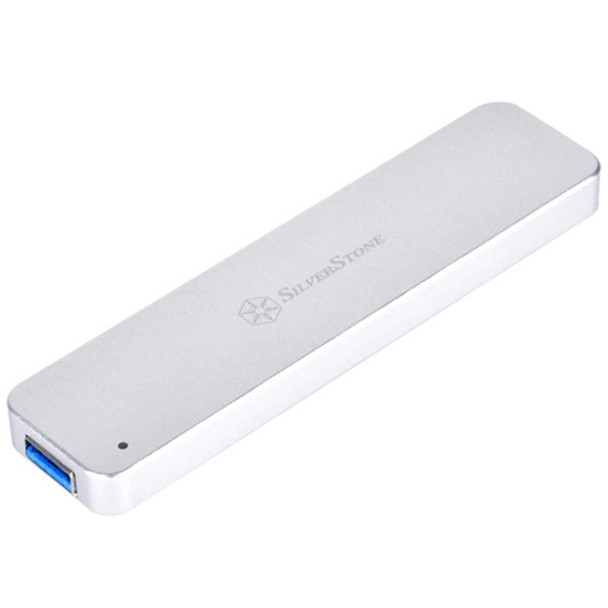 SilverStone MS09 M.2 SATA External SSD Enclosure with USB 3.1 Gen 2 - Silver Product Image 2