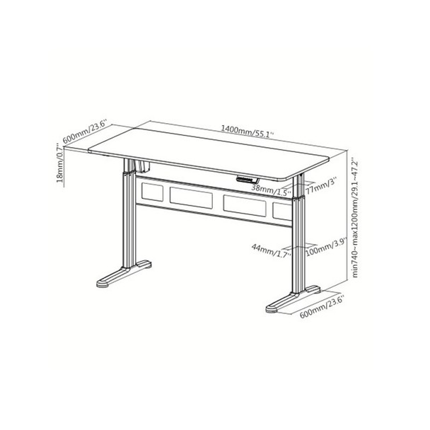 Brateck S04-22D Single-Motor Height Adjustable Desk - White Product Image 2