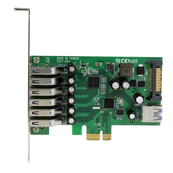 StarTech 7 Pt PCIe USB 3.0 Adapter Card - SATA Power - UASP Support Product Image 2