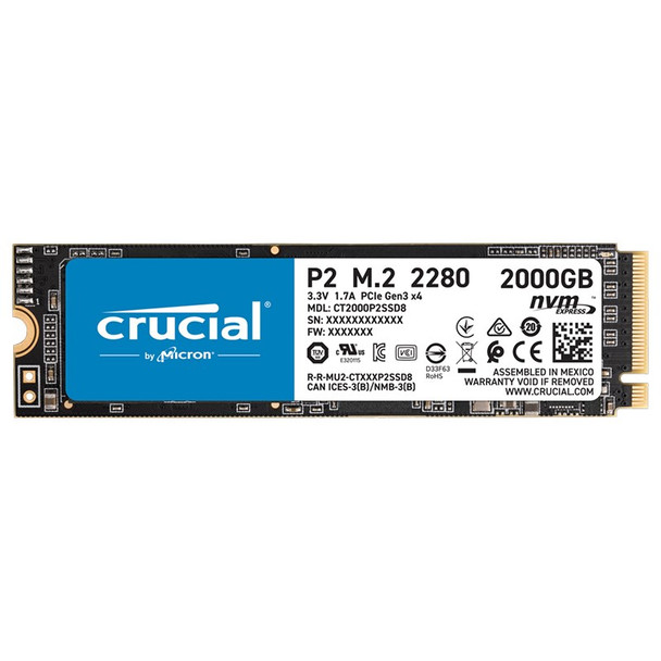 Image for Crucial P2 2TB NVMe M.2 PCIe 3D NAND SSD CT2000P2SSD8 AusPCMarket