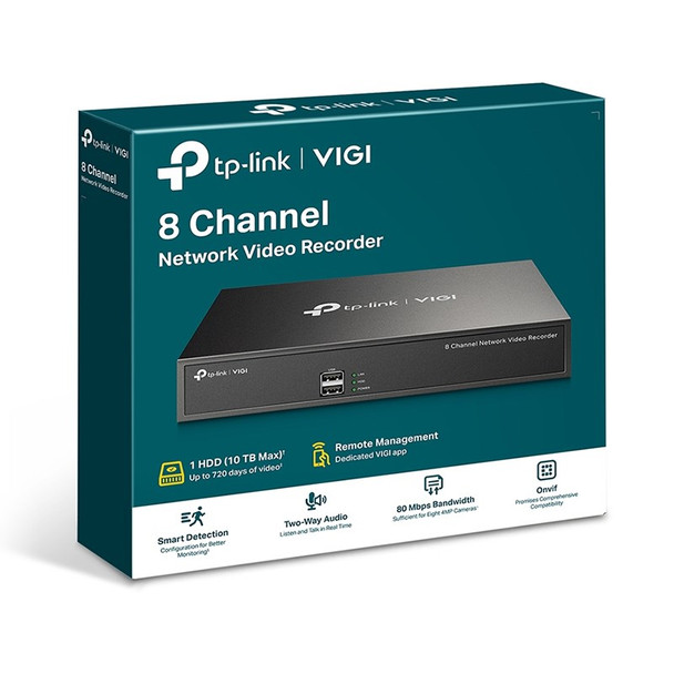 TP-Link VIGI NVR1008H 8 Channel FHD 5MP 24/7 Network Video Recorder Product Image 3