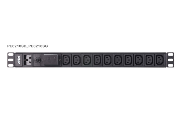 Aten 10 Port 1U Basic PDU with Surge Protection - supports 15A with 10 IEC C13 outputs Main Product Image