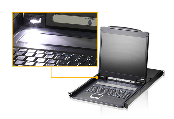 Aten 19in 16 Port LCD KVM - can be mounted in rack with a depth of 52 -85 cm - 2 VGA USB KVM Cables included Product Image 3
