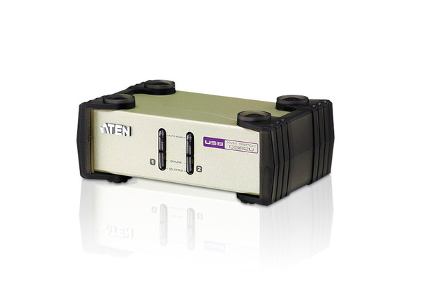 Aten 2 Port USB & PS/2 VGA KVM Switch - Video DynaSync - mouse and keyboard emulation - 2 VGA USB and PS/2 KVM Cables included Main Product Image