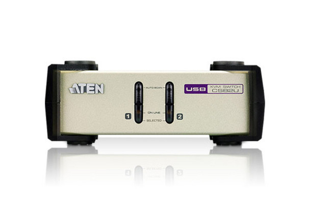 Aten 2 Port USB & PS/2 VGA KVM Switch - Video DynaSync - mouse and keyboard emulation - 2 VGA USB and PS/2 KVM Cables included Product Image 2