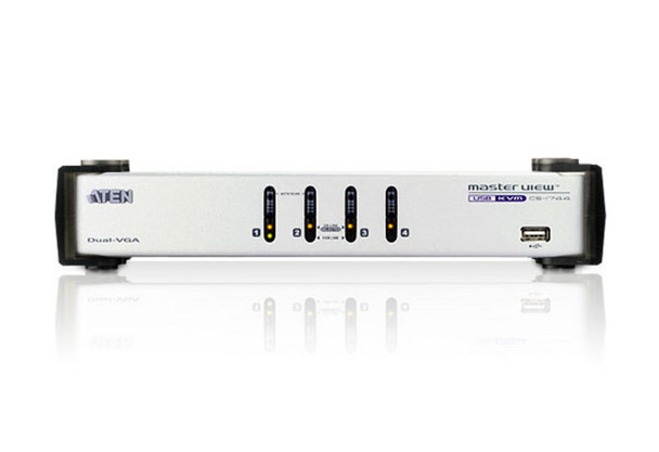 Aten 4 Port Dual View VGA KVM Switch with audio - includes 4 VGA USB KVM Cables and 4 VGA Audio KVM Cables included Product Image 2