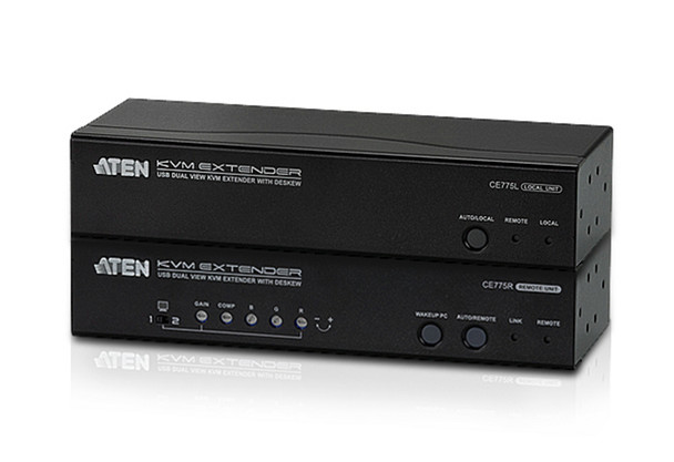 Aten USB Dual VGA Cat 5 KVM Extender with Deskew - extends up to 1280 x 1024 @ 300m and 1920 x 1200 @ 60Hz @ 150 m - extends RS232 and audio Main Product Image