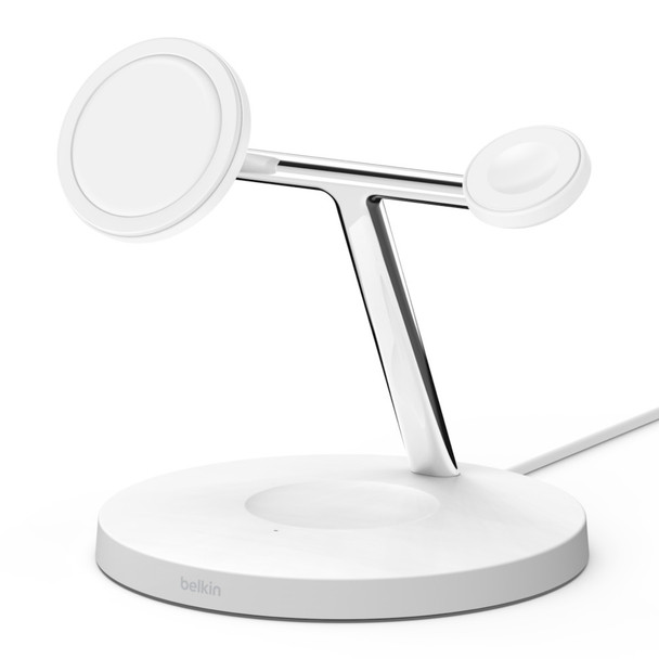 Belkin Boost Charge 3-in-1 Wireless Charger with MagSafe 15W - White
