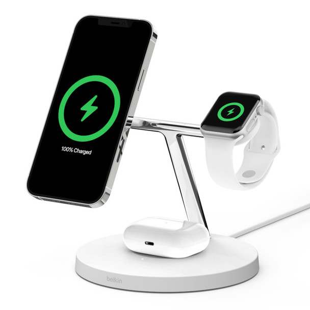Product image for Belkin Boost Charge 3-in-1 Wireless Charger with MagSafe 15W - White AusPCMarket