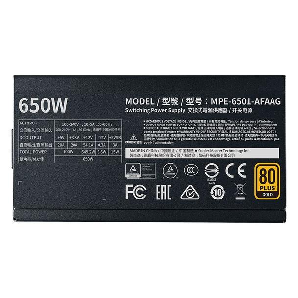 Cooler Master MWE Gold V2 650W 80+ Gold Fully Modular Power Supply Product Image 3