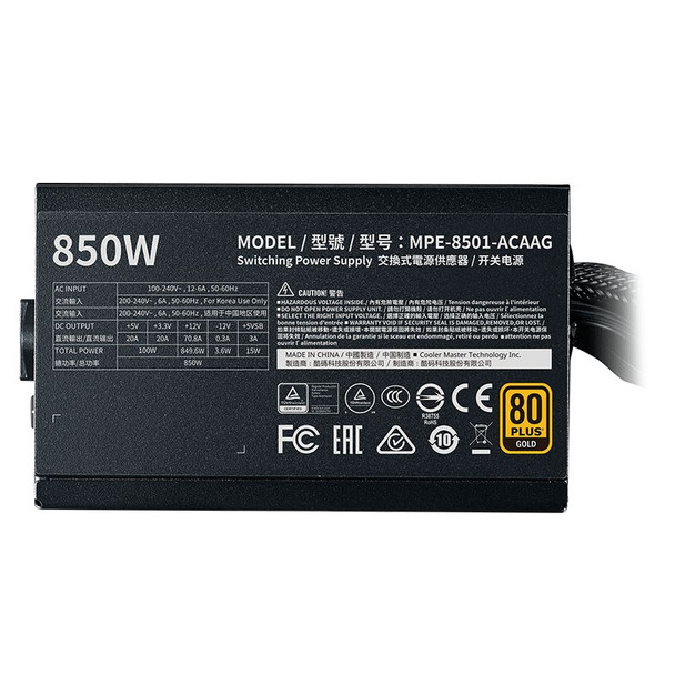 Cooler Master MWE Gold V2 850W 80+ Gold Non-Modular Power Supply Product Image 3