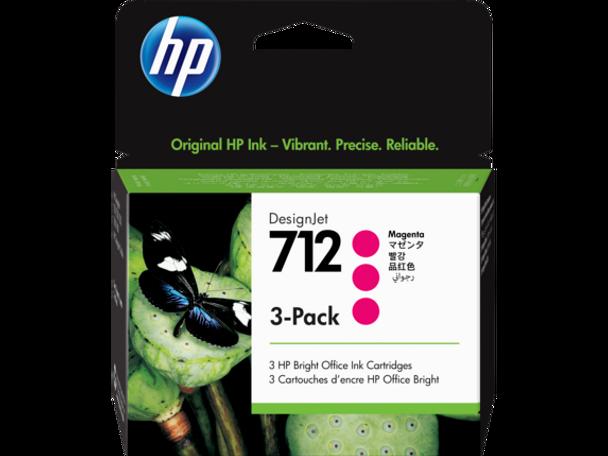 Product image for HP 712 3-Pack 29Ml Magenta DesignJet Ink Cartridge - T230/T250/T650/Studio