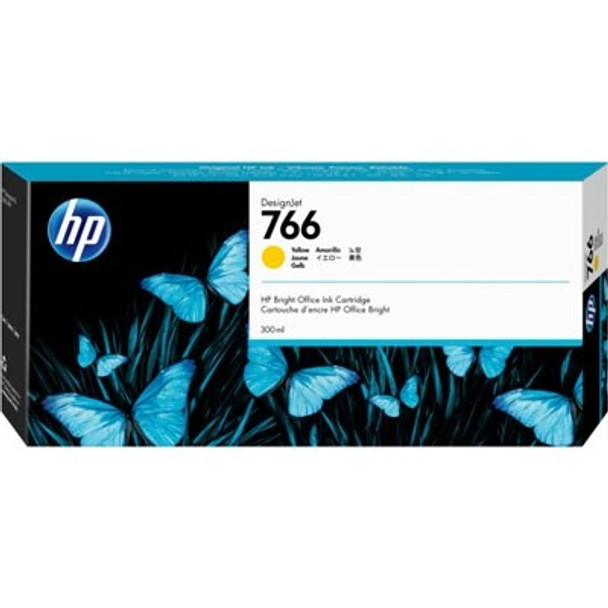 Product image for HP 766 300Ml Yellow DesignJet Ink Cartridge - Xl 3600