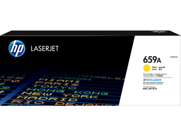 Product image for HP 659A Yellow LaserJet Toner Cartridge - 13,000 Pages. For M856 - M776