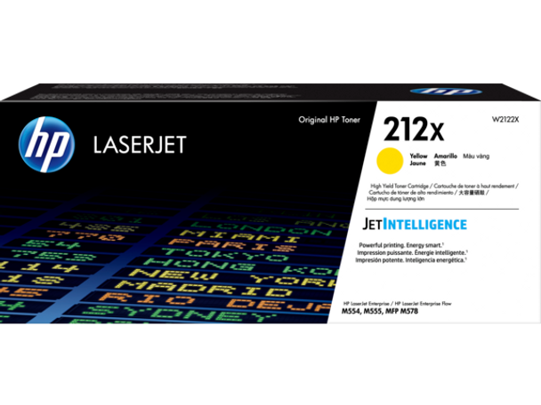 Product image for HP 212X Yellow High Yield Toner - Approx 10K Pages - For M554 - M555 - M558 Series