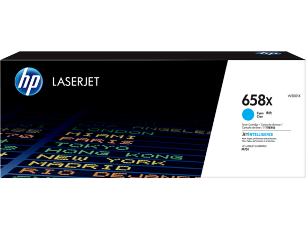 Product image for HP 658X Cyan LaserJet Toner Cartridge - High Yield - M751 Compatible