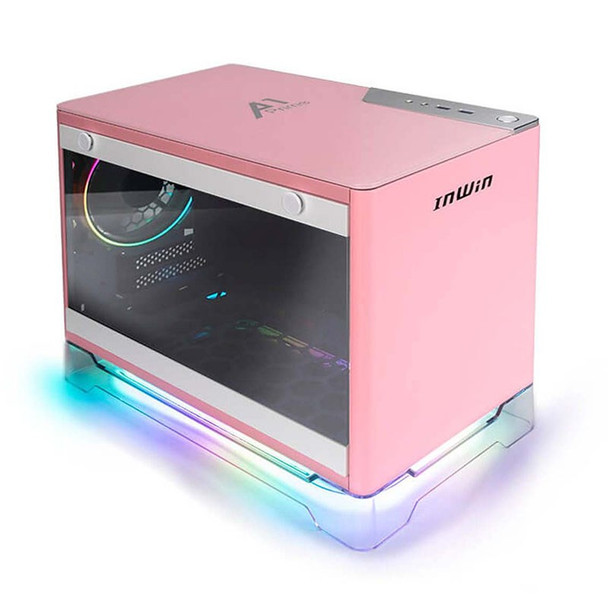 In Win A1 Prime Tempered Glass Mini Tower Mini-ITX Case with 750W PSU - Pink Main Product Image