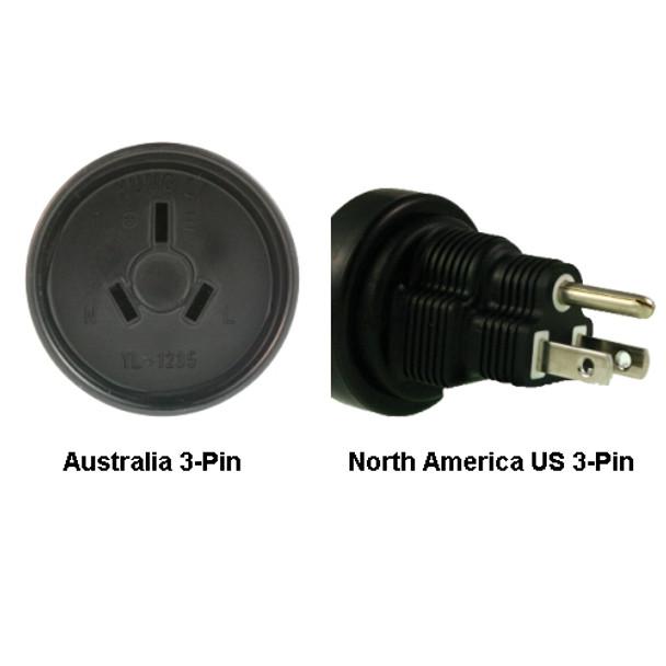 Product image for Australia to North America US 3-pin Power Adapter Plug | AusPCMarket Australia