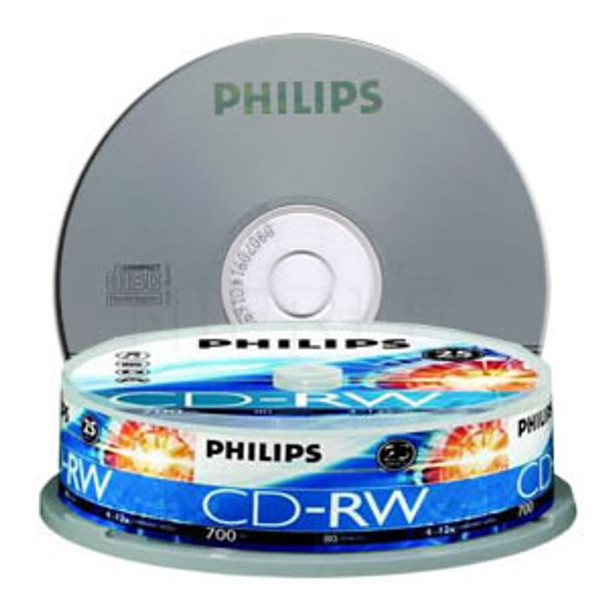 Product image for Philips CDRW 1X-12X 80 mins (Tube of 10) | AusPCMarket Australia