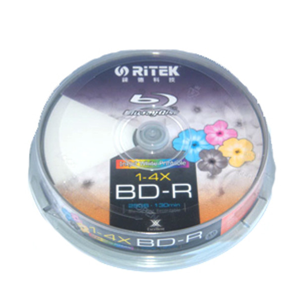 Product image for Ritek Blu-Ray BD-R 2X 25GB 130Min White Top  Printable 10pcs | AusPCMarket Australia