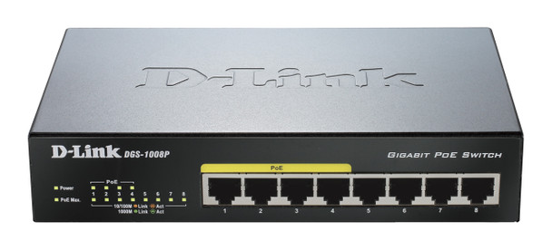 D-Link DGS-1008P 8-Port Gigabit PoE Unmanaged Switch - Durable Metal Housing Product Image 2