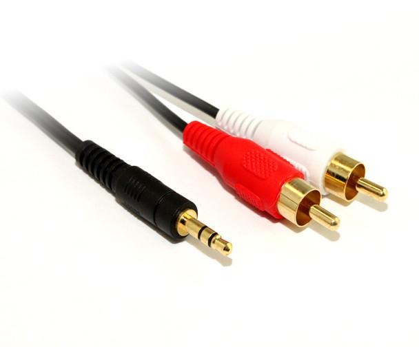 Product image for 5M 3.5MM Plug -2 X RCA Plug Cable | AusPCMarket Australia