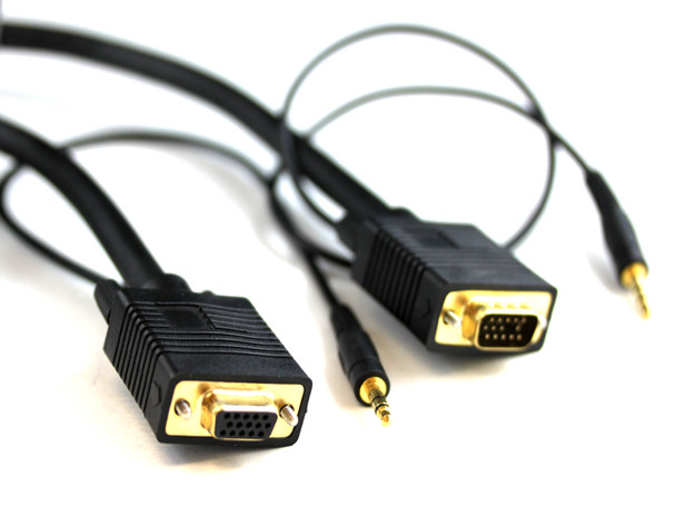 Product image for 2M SVGA HD15M/F Cable With 3.5MM Audio   AusPCMarket Australia