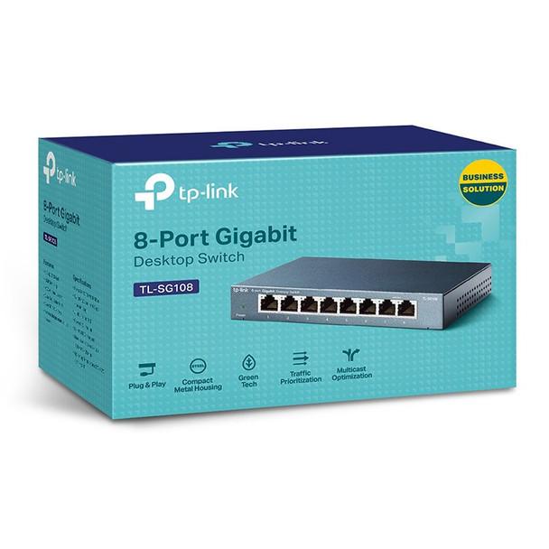 TP-Link TL-SG108 Steel Housing 8-Port 10/100/1000Mbps Desktop Switch Product Image 3