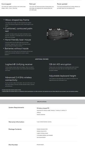 Logitech MK550 Wireless Wave Combo Product Image 7