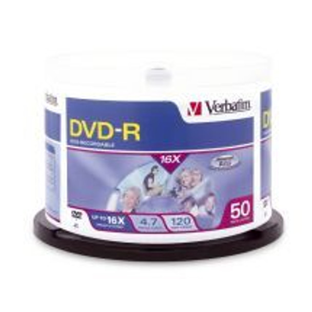 Product image for Verbatim DVD-R 4.7GB 16X 50pk 95101   AusPCMarket Australia